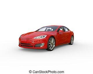 autó, elektromos, piros, sport
