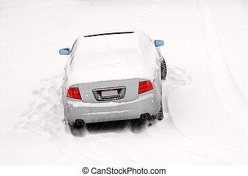 autó, elhagyatott, hó