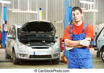 autó, ellenőr, repairman, szerelő