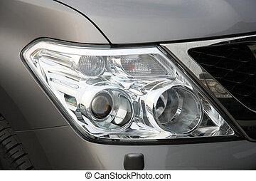 autó, első lámpa, closeup