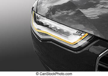 autó, első lámpa, modern