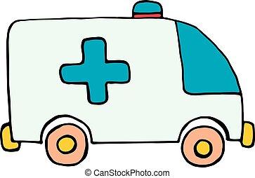 autó, elszigetelt, háttér, mentőautó, fehér, ikon