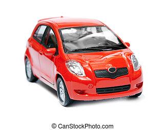 autó, elszigetelt, piros