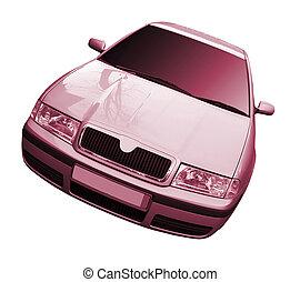 autó, elszigetelt, white