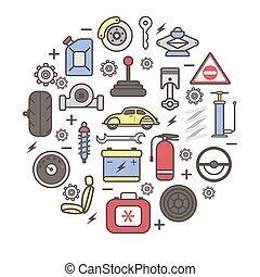 autó elválás, vektor, kímél, részletek, poszter