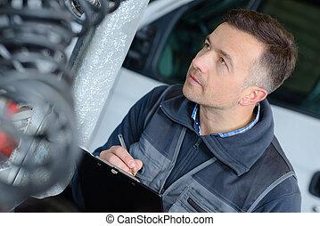 autó, ember, fiatal, mechanician