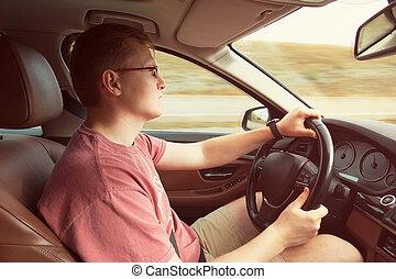 autó, ember, fiatal, vezetés, fényűzés