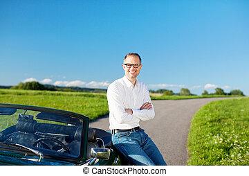 autó, ember, kabrió, bágyasztó, vonzalom