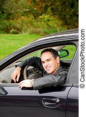 autó, ember
