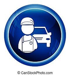 autó, ember, szolgáltatás, szerelő, ikon