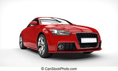 autó, erős, piros