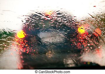 autó, eső, dzsem, forgalom, közben, szélvédő