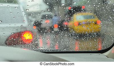 autó, esős, út, nap, elmosódott