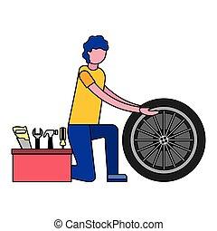 autó, eszközök, kerék, szerelő, ember