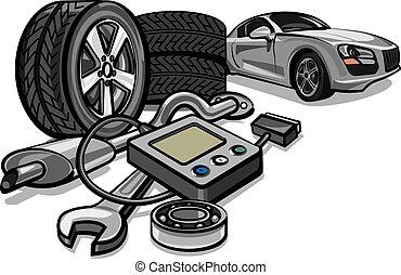 autó, eszközök, szolgáltatás