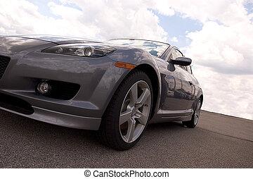 autó, ezüst, sport