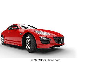 autó, félelmetes, piros