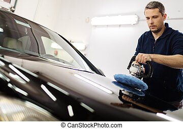 autó, fényesít, gép, ember, lemos, fényesítő