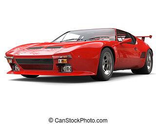 autó, fényes, nyolcvanas évek, piros, sport