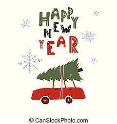 autó, fa, tető, year., új, karácsony, boldog