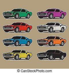 autó, fehér, elszigetelt, karikatúra, háttér.