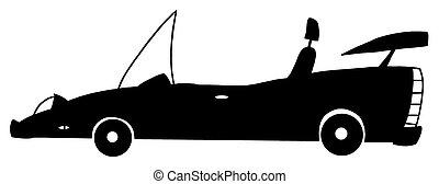 autó, fehér, fekete, kabrió