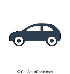 autó, fehér, ikon, háttér.