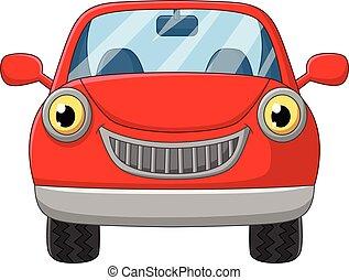 autó, fehér, karikatúra, háttér, piros