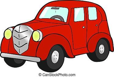 autó, fehér, retro, háttér, piros