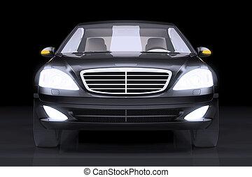 autó, fekete, elülső, presztízs, szegély kilátás