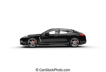 autó, fekete, gyorsan, család