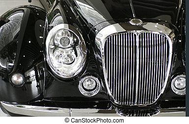 autó, fekete, részletez, klasszikus