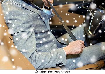 autó, feláll, ülés, biztonság, rögzítés, becsuk, ember, öv
