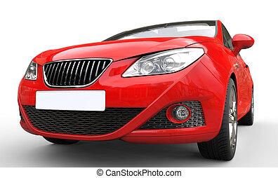 autó, feláll, piros, becsuk