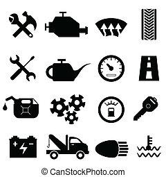 autó, fenntartás, és, rendbehozás, ikonok