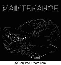 autó, fenntartás, aláír