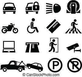 autó, figyelmeztetés, várakozás, liget, terület