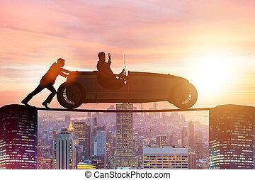 autó, fogalom, csapatmunka, rámenős, üzletember