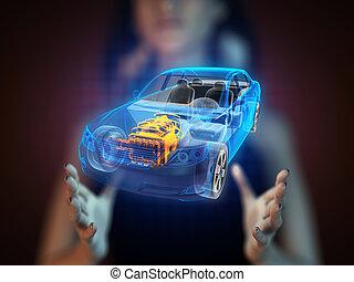 autó, fogalom, hologram, áttetsző