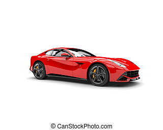autó, fogalom, modern, piros, sport