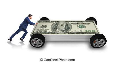 autó, fogalom, rámenős, ügy, üzletember