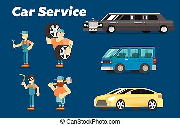 autó, fogalom, rendbehozás, szolgáltatás, banner.