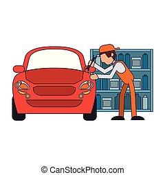 autó, fogalom, szerelő