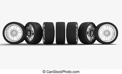 autó, fogalom, wheels., design.