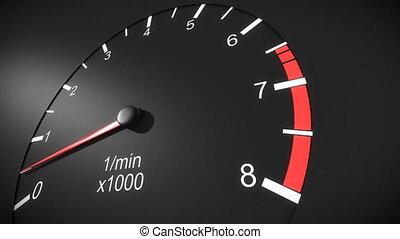 autó, fordulatszámmérő, hd