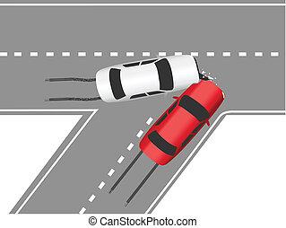 autó, forgalom, ütközés, út, autók