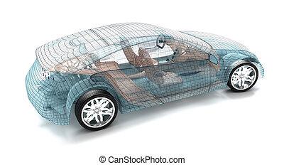 autó, formál, drót, tervezés