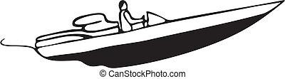 autó fut, csónakázik