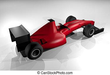 autó fut, render, piros