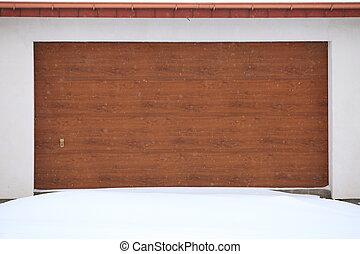 autó, garázs ajtó, körülvett, által, hó